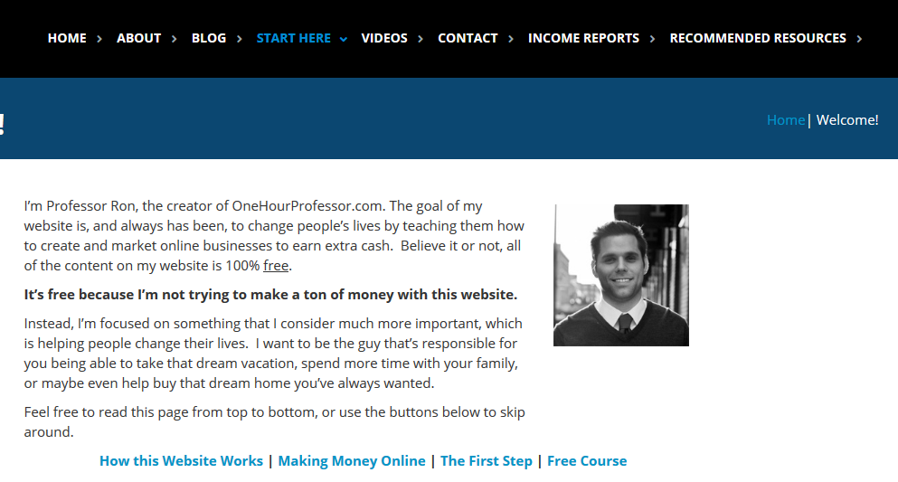 Website redesign strategy getting started page