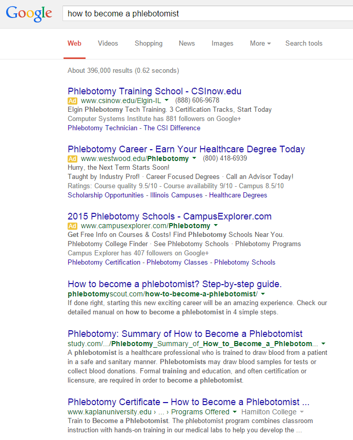 Website competitor analysis authority website experiment 3 for How to become a phlebotomist